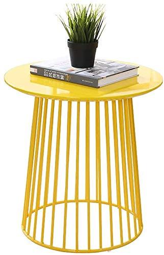 Sala de mesa de café de hierro forjado mesa de centro mesa de centro redonda mesa de sofá al lado de mesa de café balcón,Yellow