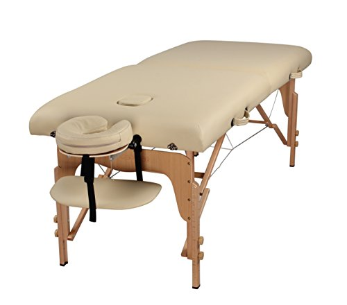 """Heaven Massage Extra Wide 3"""" Portable Folding Massage Table Comfort Series w/Carry Case & Strap – Cream"""