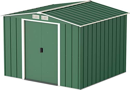 Duramax ECO 8 x 8 Hot-Dipped Galvanized Metal Garden Shed - Tool Storage Shed - Green with Off-White Trimmings - 15 Years Warranty