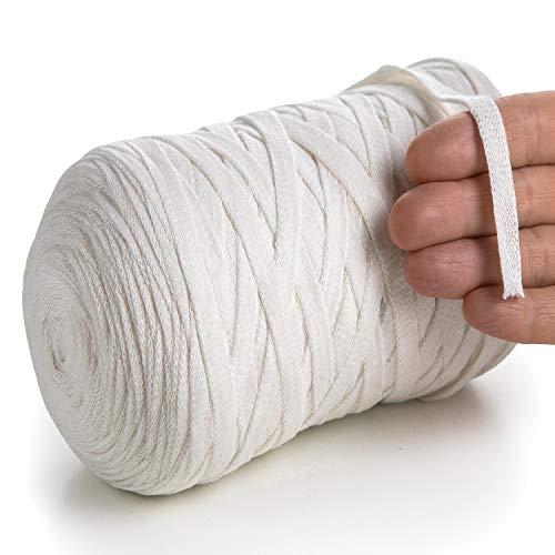 MeriWoolArt Baumwollgarn für Stricken, Makramee, Häkeln, Weben, Geschenkband für Weihnachten - 10 mm, 150 m T-Shirt Garn - Neue Qualität (Natürliche Farbe)