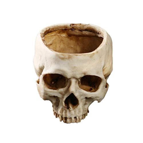 Yundxi Humano Calavera Figura Maceta Macetero cráneo Cabeza Calavera Modelo Maceta Maceta Flores Plantas Decoración (Beige)