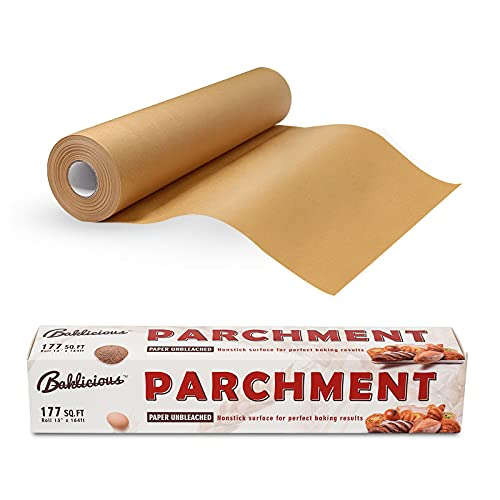 BAKLICIOUS 13 in x 164 ft Parchment Paper Roll 177 SQ FT Unbleached Parchment Paper for Baking, Cooking