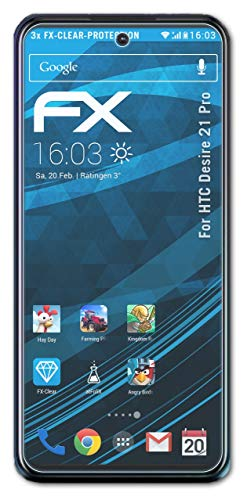 atFolix Schutzfolie kompatibel mit HTC Desire 21 Pro Folie, ultraklare FX Bildschirmschutzfolie (3X)