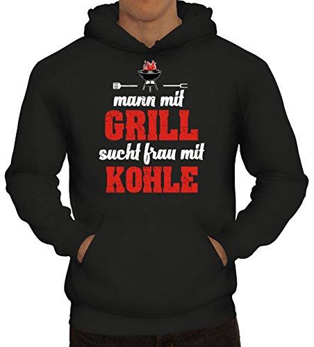ShirtStreet Grillen Grill Garten Party Herren Hoodie Männer Kapuzenpullover Mann mit Grill sucht Frau mit Kohle, Größe: L,Schwarz