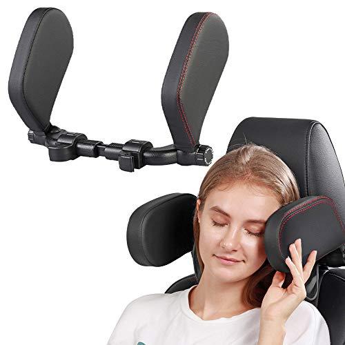 Bestine Almohada para reposacabezas de asiento de coche, color negro, ajustable para la cabeza y el cuello en ambos lados para el reposacabezas del coche, adecuado para conducir, viajar