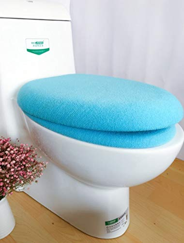 yywl Toilet Lid Seat Cover 2pcs/set Bathroom Solid Color Acrylic Thickened Toilet Seat Button Type Toilet Mat Twinset U/Round/Square Toilet Lid Cover Pad (Color : Blue)