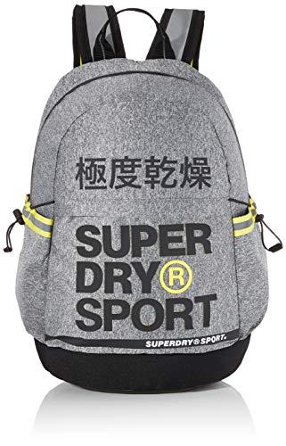 Superdry Herren Division Sport Backpack Rucksack, Mehrfarbig (Grey Marl/Yellow), 35x20x46 cm