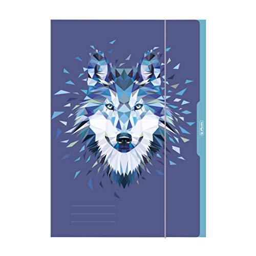 herlitz 50027989 Sammelmappe, A3, Motiv: Wild Animals Wolf, 1 Stück