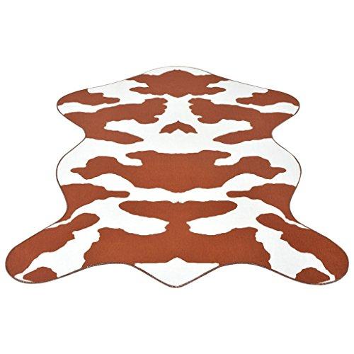 Zora Walter Alfombra 100% poliéster con impresión de vaca para salón, 150 x 220 cm, color marrón, parte inferior antideslizante, lavable
