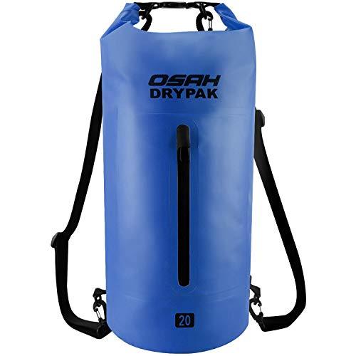 OSAH DRYPAK Dry Bag Wasserdichter Packsack wasserdichte Tasche Sack Beutel Lang Schulter Verstellbarer Schultergurt für Kajak Boot Angeln Rafting Schwimmen Wassersport Treiben (Navyblau, 10L)