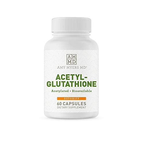 Dr. Amy Myers Acetyl Glutathione Supplement 300mg - Anti Aging Vitamin and Best Highly Potent Antioxidant Supplement - Heavy Metals Detox and Inflammation Support - 60 Veggie Capsules