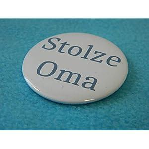 Button 50mm Stolze Oma Blau Junge Anstecker Groß-Mutter Omi Taufe Geburt Baby Enkelkind