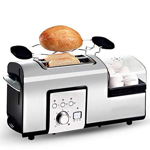 Tostadora de acero inoxidable para 2 rebanadas de pan, para desayuno, sandwichera con bandeja recogemigas extraíble, accesorio para panecillos extraíble y función de elevación