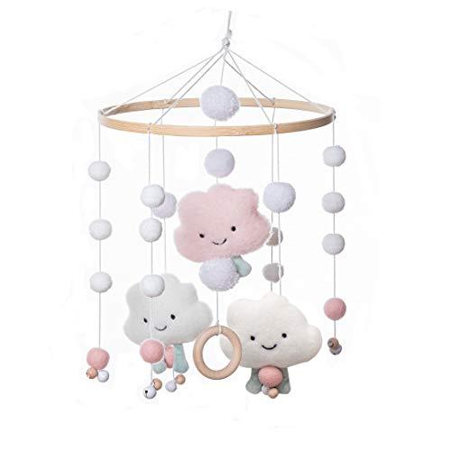 Promise Babe Baby Mobile Windspiele aus Filz Ball und Bambus Kinderzimmer Hängende Bettglocke Mobile für Babybett Jungen und Mädchen