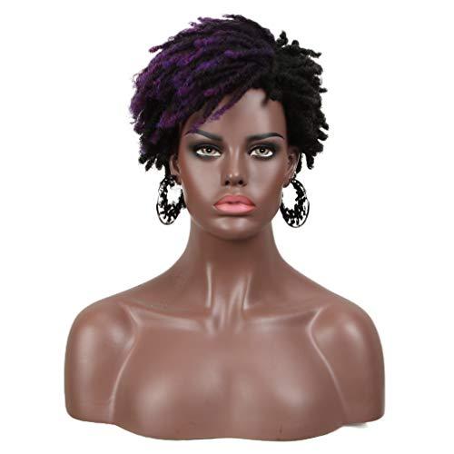 FASHION IDOL Dreadlock Wig Synthetic Short Kinky Curly Wig Ombre Purple Afro Twist Wig For African American 4C Kanekalon Wig Flame Retardant (DYTD 1B/M.PU3)