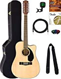 Fender CD-60SCE-12 Dreadnought Acoustic-Electric Guitar, 12 String - Natural Bundle with Hard Case, Cable, Tuner, Strap, Strings, Picks,...