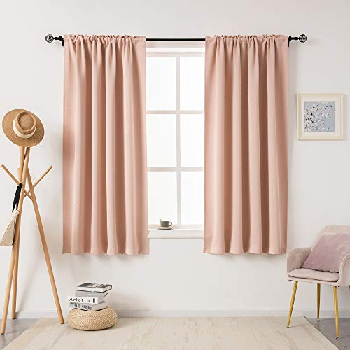 DUALIFE Blush Pink Blackout Curtains for Bedroom 63 Inch Length 2 Panels Solid Thermal Insulated Curtains Room Darkening Drapes Soundproof Curtain Panels for Living Room Rod Pocket 42x63 Inch