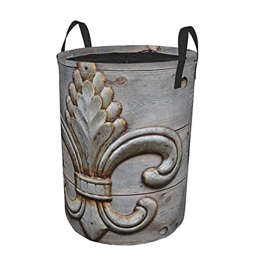 Cesto de lavandería redondo, diseño de metal con detalle de flor de lis de hojalata de Orleans, cesto de lavandería plegable impermeable con cordón,19