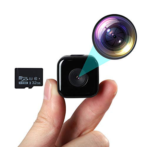 Mini Spy Camera with 32GB SD Card Waterproof Case 1080P HD Hidden Camera Night Vision and Motion Detection Micro Nanny Cam Built-in Battery Surveillance Camera for Indoor and Outdoor (No WiFi)