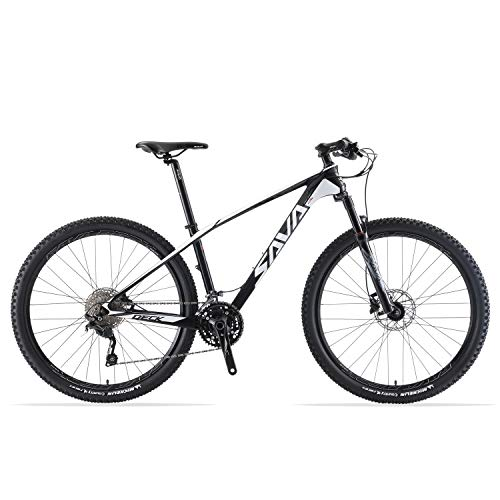 SAVADECK DECK300 Carbon Fiber Mountain Bike 27.5'/29' Complete Hard Tail MTB Bicycle 30 Speed with M6000 DEORE Group Set (White, 29' 19')