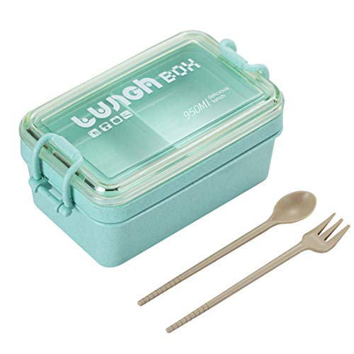 O-Kinee Kinder Lunchbox, Brotbox Kinder, Kinder Bento Box Mit 2 Fächern Auslaufsicher Mikrowelle Gefertigt aus Weizen Biologisch Abbaubar Plastikfrei BPA Frei (Grün)