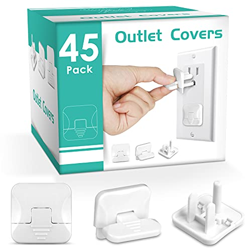 Outlet Covers with Hidden Pull Handle Baby Proofing Plug Covers (45 Pack) 3-Prong Child Safety Socket Covers Electrical Outlet Protectors Kid Proof Outlet Cap