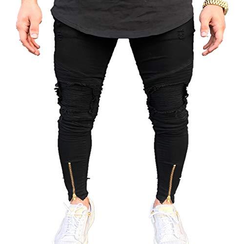 NOBRAND Herren Jeans Individuell Plissee Kniehosen Reißverschluss Small Leg Herren Hose Gr. 48 DE, Schwarz