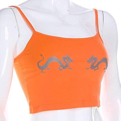 Justtime dames oranje reflecterende dragon print vest sling damesbovenkleding Small oranje