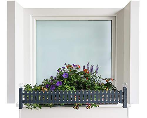 Bloembakhouder masu basisset past op elke vensterbank van 78 cm tot 140 cm zonder te boren, zonder de gevel te beschadigen (basisset: klassiek, antraciet)