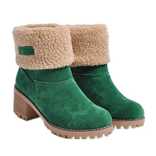 Alebaba - Botas de nieve para mujer, de ante cálido, con forro de piel, de goma gruesa, impermeables, color Verde, talla 36.5 EU