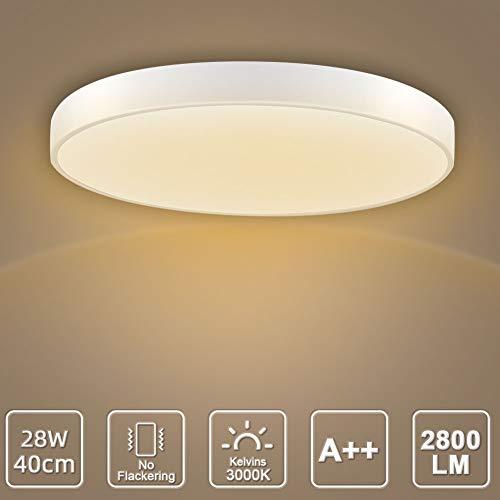 LED Deckenleuchte, LED Deckenlampe, Kaltweiß Warmweiß Rund Modern Led Deckenleuchten Schlafzimmer Küche Wohnzimmer Lampe für Balkon Flur Küche Wohnzimmer IP20[Energieklasse A+] (Warmweiß, 28W(40cm))