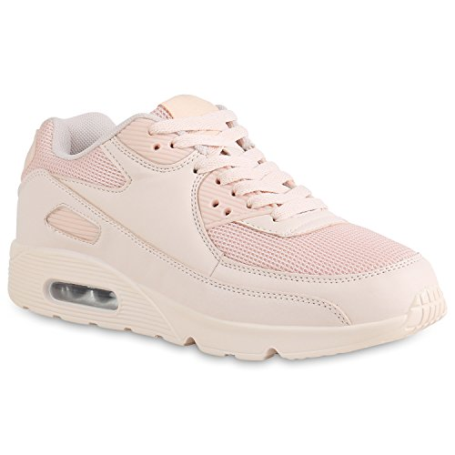 stiefelparadies Damen Schuhe Sportschuhe Laufschuhe Profilsohle Neon Schnürer 158328 Rosa Carlton 37 Flandell