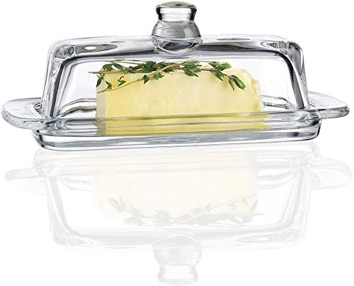 """Circleware Glass Butter Lid, Multi-Purpose Food Preserving Serving Dessert Dish Tray Home & Kitchen Entertainment Glassware for Cream Cheese, Cake, Candy, Best Gifts, 7.7""""x3.7, Clear"""