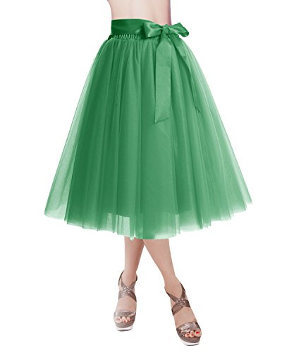 DRESSTELLS Knee Length Tulle Skirt Tutu Skirt Evening Party Gown Prom Formal Skirts Green M-L
