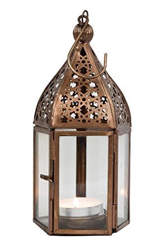 Orientalische Laterne aus Metall & Glas Meena klar 16cm   orientalisches Windlicht   Marokkanische Glaslaterne für innen   Marokkanisches Gartenwindlicht für draußen als Gartenlaterne