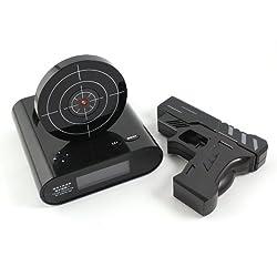EBS Store Laser Target Gun Shoot to Stop Game Alarm Clock LCD Screen Novelty Gift-Black