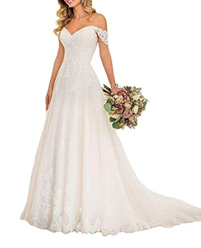 Sweetheart Lace Appliques Off The Shoulder Wedding Gowns A Line Mermaid Short Sleeves Wedding Dresses for Bride (White, 16)