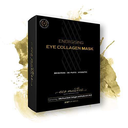 Gold Collagen Eye Mask - Mascarrilla de Oro Para Los Ojos - Reduce El Hinchazón y Las Bolsas de los Ojos - Contiene Oro Nano-Activo de 24k - 8 Par de Parches