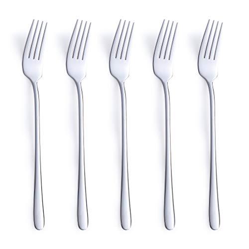 Silver Dinner Fork Set 5 Piece 1810 Stainless Korean Tableware Steel Mirror Finish Dishwasher Safe 843 Inches