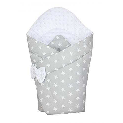 TupTam Baby Winter Einschlagdecke Warm Wattiert Minky, Farbe: Sterne Grau, Größe: ca. 75 x 75 cm