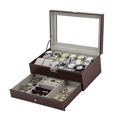 LGR Caja de joyería Caja de Reloj Reloj de Doble Capa de Gama Alta Desmontable de 12 Posiciones Caja de Almacenamiento de exhibición de joyería marrón