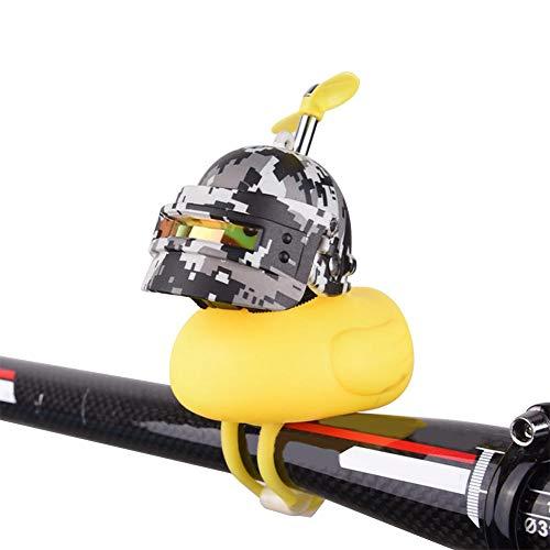 ZQYX Autodekoration Gummiente Helm, gelbe Ente Fahrradklingel mit LED-Licht, Propeller Lenker Fahrradhörner, Auto Ornamente Dashboard Dekoration, für Erwachsene & Kinder, 7 Farben