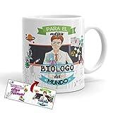 Kembilove Taza de Café para el Mejor Biólogo del Mundo – Taza de Desayuno para la Oficina – Taza de Café y Té para Profesionales – Tazas de Profesiones para Biólogos