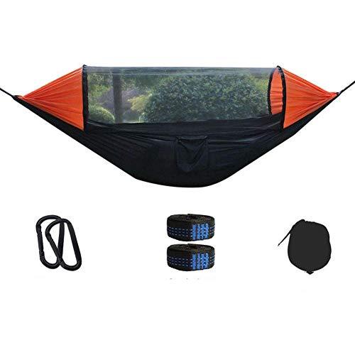 Camping hangmat Klamboe Hangmat Double Parachute Doek Quick Open Tent for Outdoor Courtyard Travel Camping Travel camping hangmat (Kleur: Zwart Oranje, Grootte: 280x140cm)