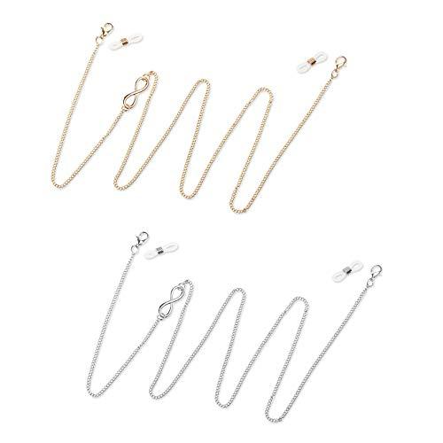 Cadena de máscara plateada y dorada, 2 unidades de cordón para máscara facial, cadenas de gafas, extensor de correa, para mujeres, hombres y niños