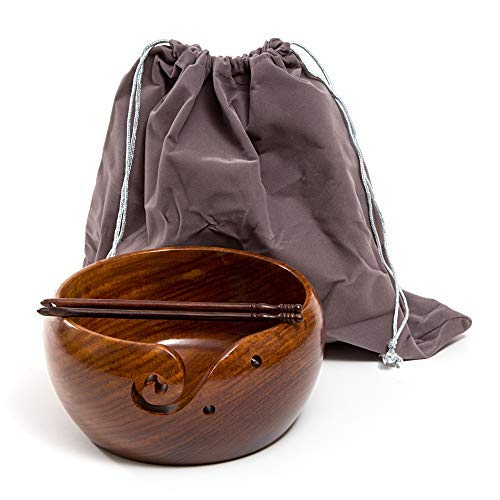 "Eunoia Yarn Bowl | Best Handmade Yarn Holder for Knitting | Large Wooden 7"" x 4"" 