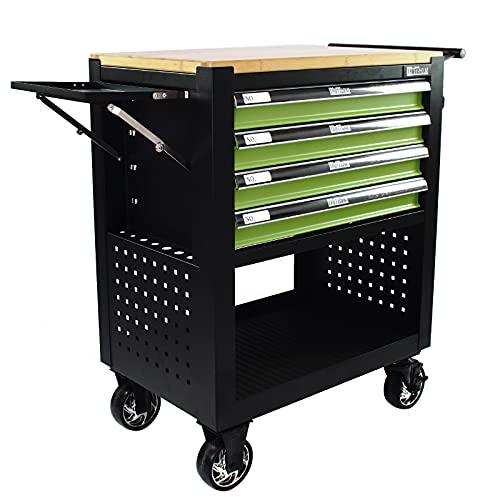 Trutzholm Werkstattwagen Profi Compact Massive Holzplatte mit 4 Schubladen + Stauraum leer Montagewagen Werkzeugwagen Seitenablage (grün/schwarz)