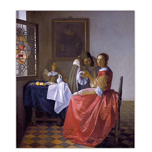 Johannes Vermeer 《La chica de la copa de vino》 Pintura en lienzo Obra de arte famosa Póster de imagen Decoración de pared Decoración del hogar-24x32 pulgadas Sin marco