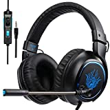 PS4 Casque, SADES R5 Xbox One Casque Gaming headset Casque avec Microphone pour Pour Nouveau Xbox one PS4 Ordinateur Portable Mac Tablet iPhone iPad iPod (Noir)