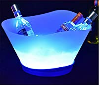 氷のバケツ 12L大容量アイスバケツシャンパンプラスチック製の氷のバケツLEDアイスバケツさまざまなライト (Size : Red)